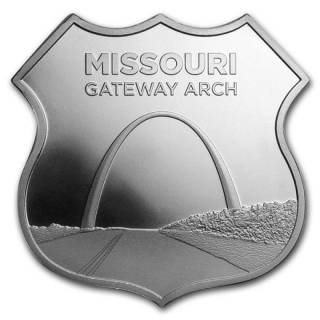 1 oz Silver - Icons of Route 66 Shield (Missouri Gateway Arch)