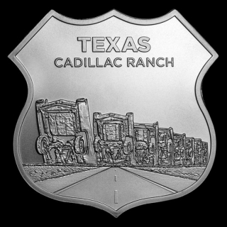 1 Unze Silber Round Route 66 Icons of Route 66 Shield (Texas Cadillac Ranch)
