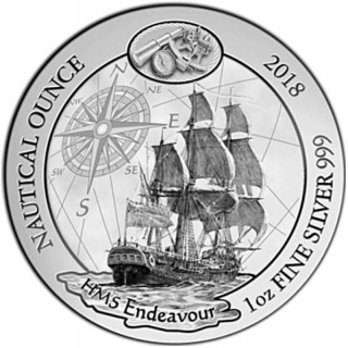 1 Unze Silber Ruanda Nautical Ounce HMS Endeavour 2018 African Ounce 50 RWF Proof