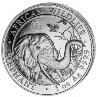 1 Oz Silver Somalia 100 Sh Wildlife Elephant  WMF Berlin 2018 Brandenburg Gate