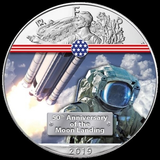 1 Unze Silber farbig American Eagle 2019 USA 50 Jahre Mondlandung Next Step to the Moon