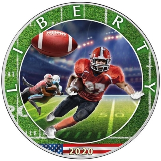 1 oz Silver American Eagle USA 2020 Colorized Football - Best American Sports Series