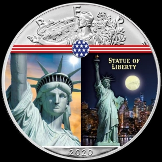 1 oz Silver American Eagle USA 2020 Colorized Statue of Liber Building Landmarks