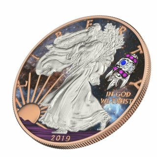 1 oz Silver American Eagle Space Rocket USA 2019  colorized