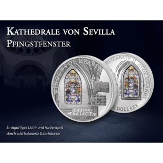 2011 Cook Island Proof Silver $10 Cathedrale of Sevilla Windows of Heaven Pentecost window