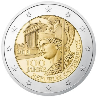 2 Euro Austria 100 Years Austrian Republic