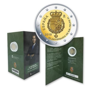 2 Euro Spain  2018 50 Anniversary of birth of Felipe VI Proof