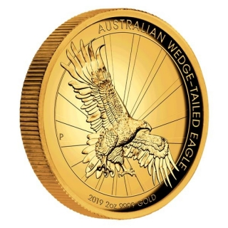 2 Unzen Gold Wedge Tailed Eagle High Relief 2019 Australien 200 AUD Proof