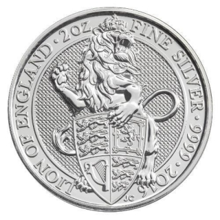 2 Unzen Silber Queens Beasts The Lion 2016 Großbritannien BU