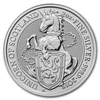 2018 Great Britain 2 oz Silver Queens Beasts: The Unicorn