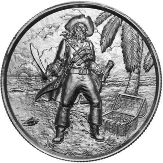 2 Oz Silver Ultra High Relief  The Privateer Captain Silver 999,99
