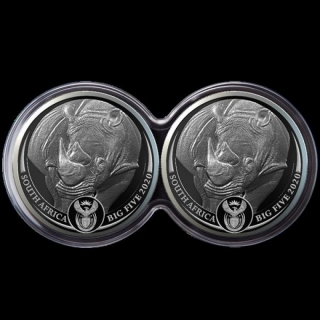 2 x 1 oz Silver South African Big Five Rhino Double Capsule 2020 Proof