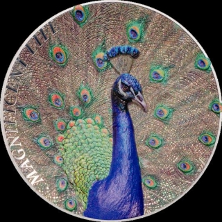 5 $ 2015 Cook Islands -  Peacock Pfau Magnificent Life High Relief