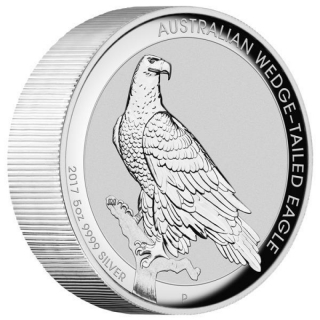 5 Oz Silber Australian Wedge Tailed Eagle 2017 High Relief 8 AUD Proof