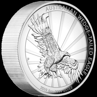 5 Oz Silber Australian Wedge Tailed Eagle 2019 High Relief 8 AUD Proof