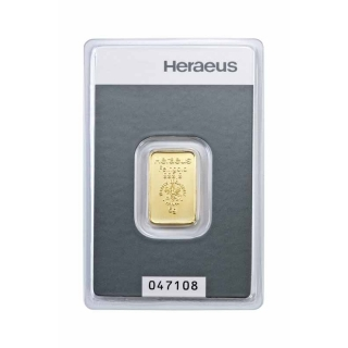 5 gram Heraeus Gold Bar (embossed) .9999 Fine (In Assay)