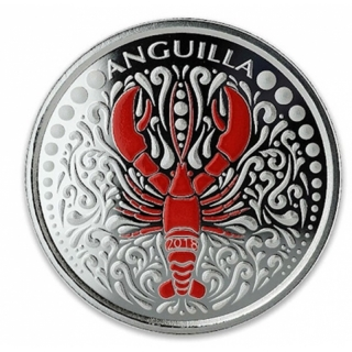 Anguilla,  2 Dollar, Lobster EC8 1 Unze Silber, 1 oz 2018 Proof farbig