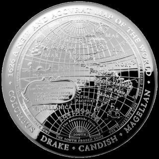 2019 $5  1626 A New Map of the World Terestial Dome 1oz Silver Proof