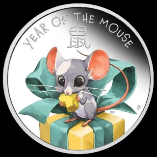 Baby Maus MouseTuvalu 1/2 Unze Silber 2020 Proof coloriert