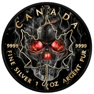 Canada 2018 5$ Burning Maple Leaf Smoked Skull 2018 Black Ruthenium 1 Oz Silver Coin