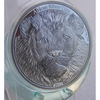 Congo 5000 Francs 2013 African Lion Antique Finish 4 Oz Silver