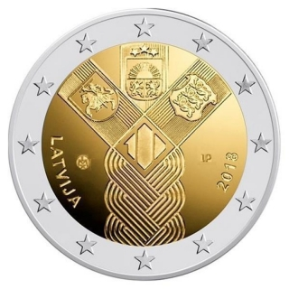 Latvia 2 Euro 100 Years Baltic States 2018 unc