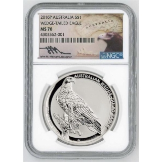 NGC MS-70 1 Unze Silber Australian Wedge Tailed Eagle 2016 Australien 1 AUD