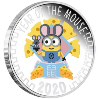 2020 Minion Lunar - Year of the Mouse 1oz Silver Proof Coin coloured