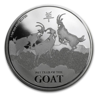2015 Year of the Goat 1 oz Silver Coin Nieu Islands $2