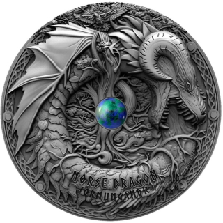 Niue Islands 2019 5 Dollar 2 Oz Silber Norse Dragon  Antique Finish 2 oz,