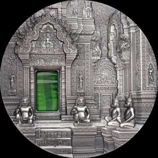 2019 Palau 2 oz Antique Silver Tiffany Art Angkor Khmer