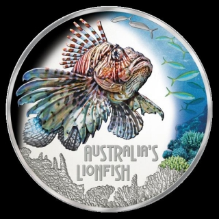Tuvalu Lionfish Deadly and Dangerous 1 Unze Silber coloriert 2019